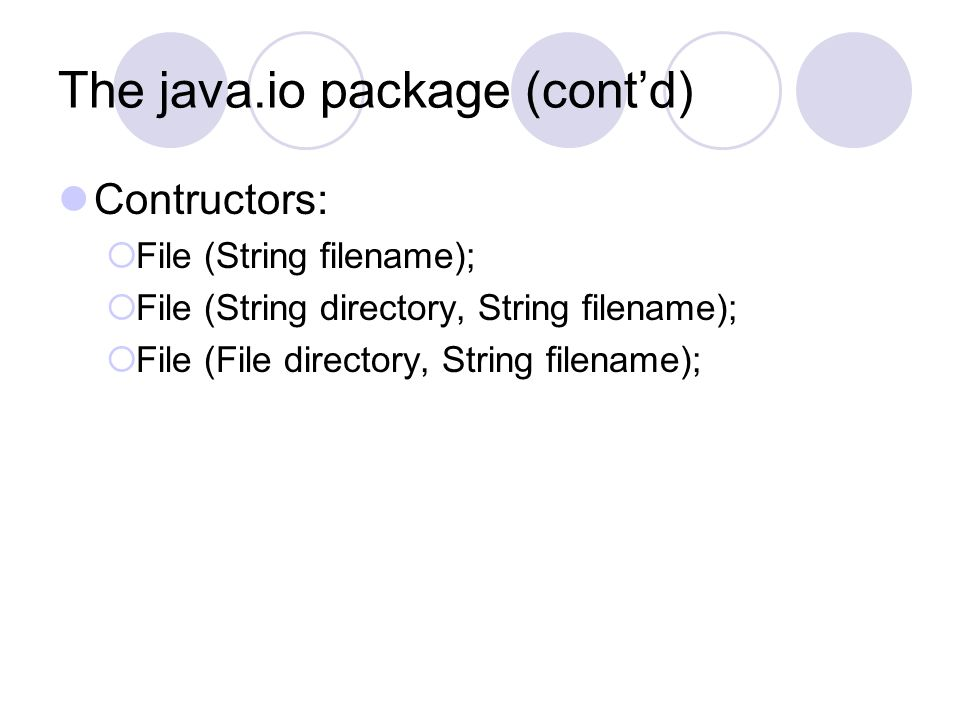 The java.io package (cont'd)