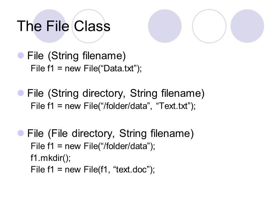 The File Class File (String filename)