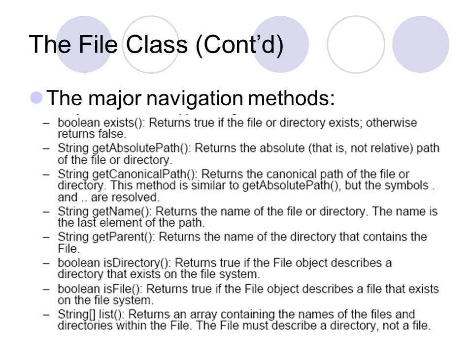 The File Class (Cont'd)