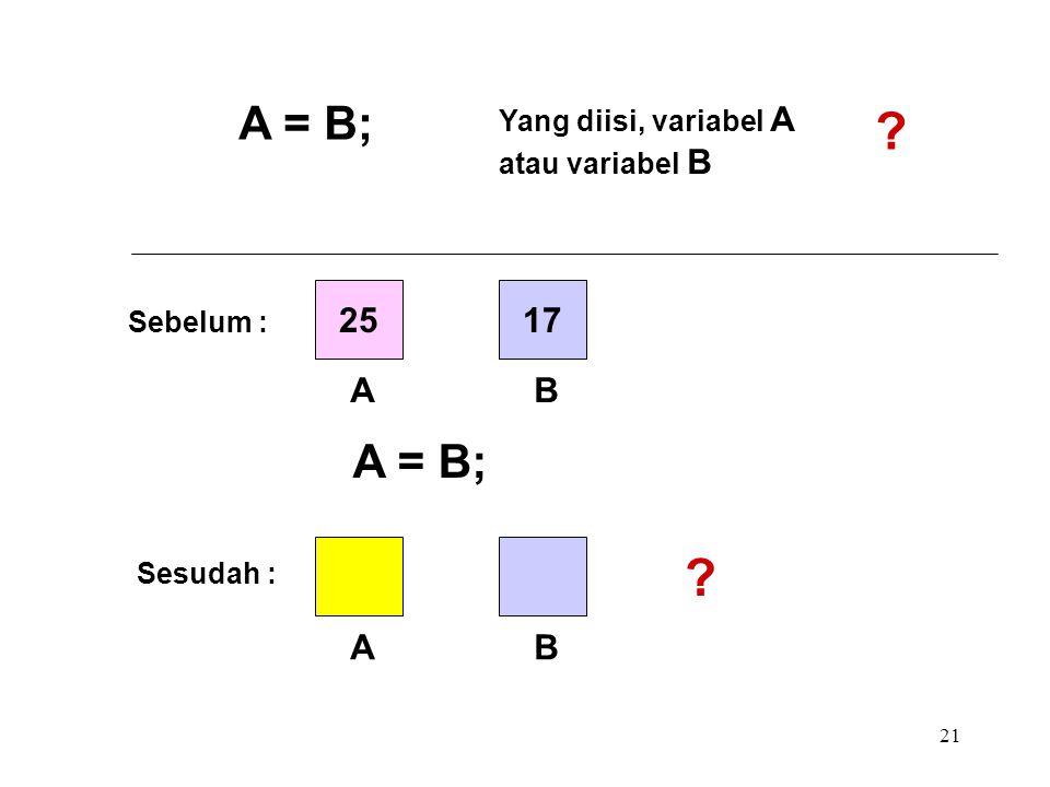 A = B; A = B; 25 17 A B A B Yang diisi, variabel A atau variabel B