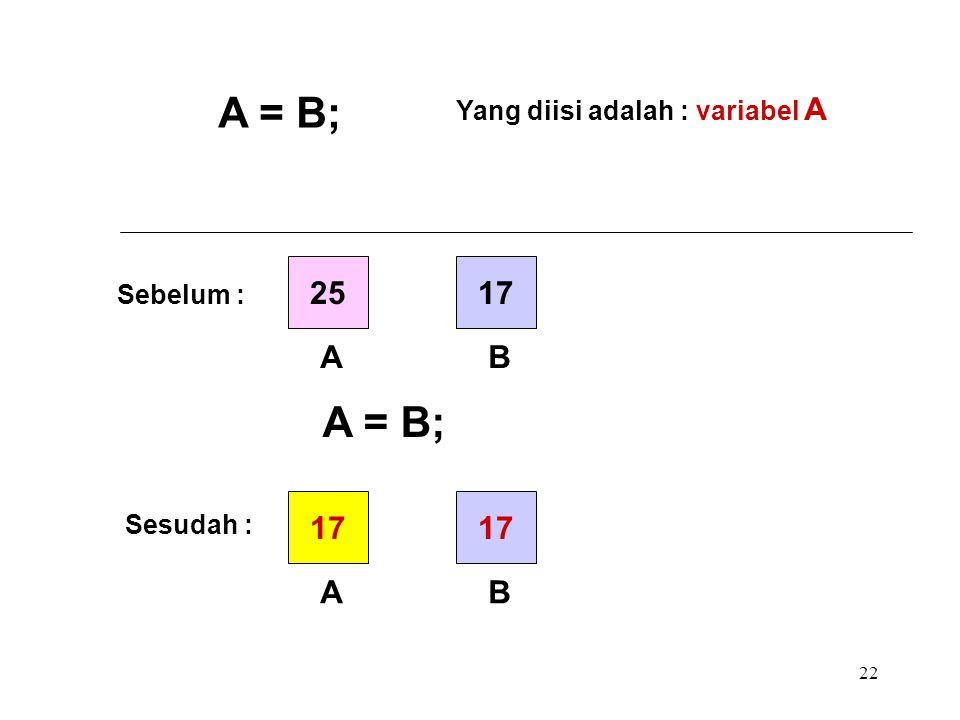 A = B; A = B; 25 17 A B 17 17 A B Yang diisi adalah : variabel A