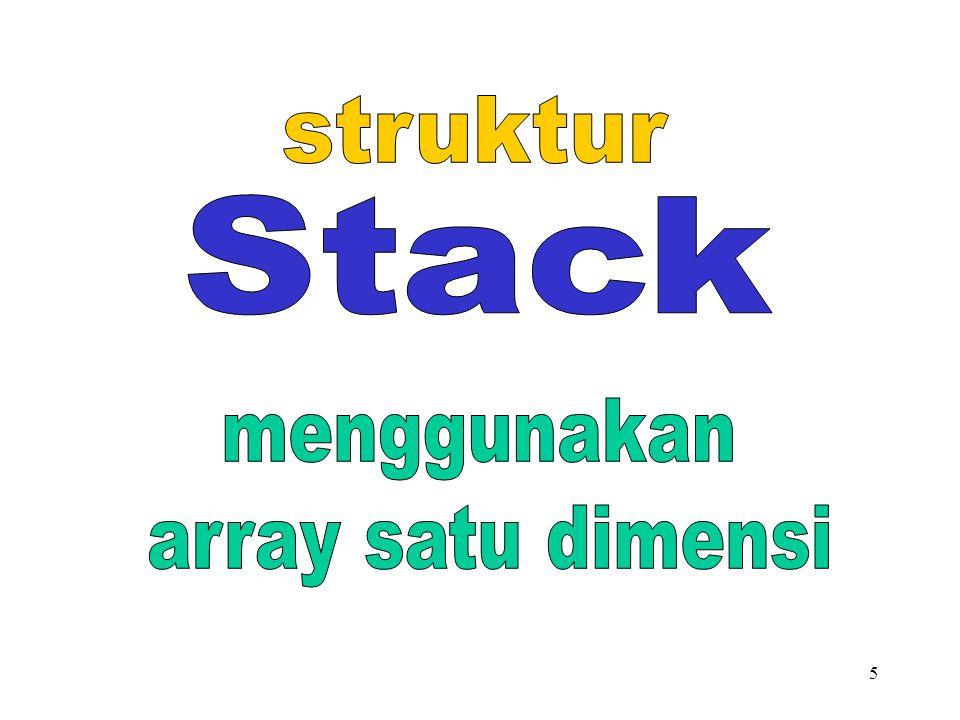 struktur Stack menggunakan array satu dimensi