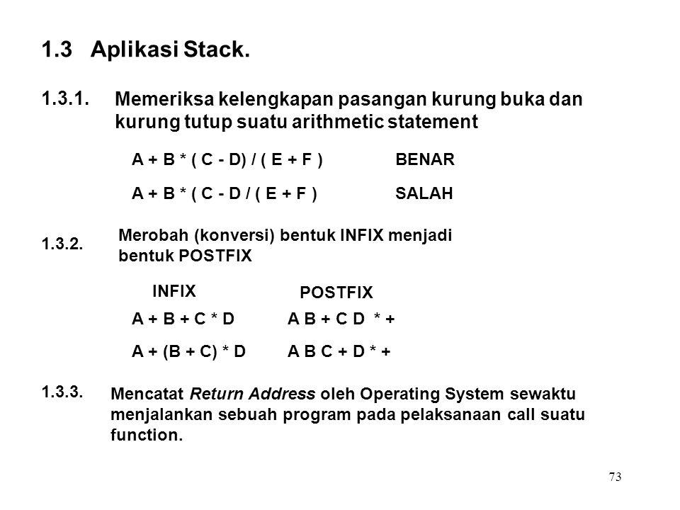 1.3 Aplikasi Stack. 1.3.1. Memeriksa kelengkapan pasangan kurung buka dan kurung tutup suatu arithmetic statement.