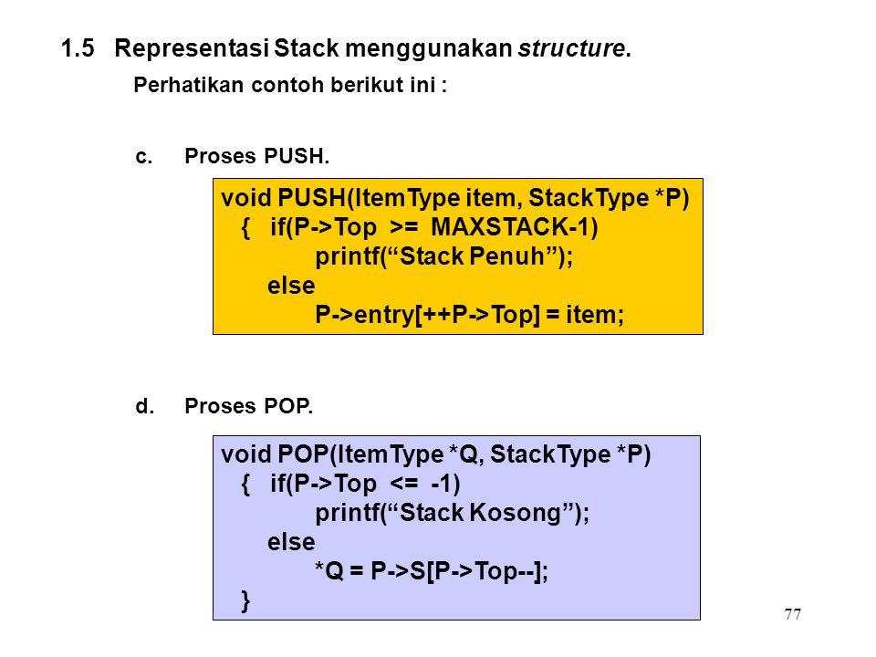1.5 Representasi Stack menggunakan structure.