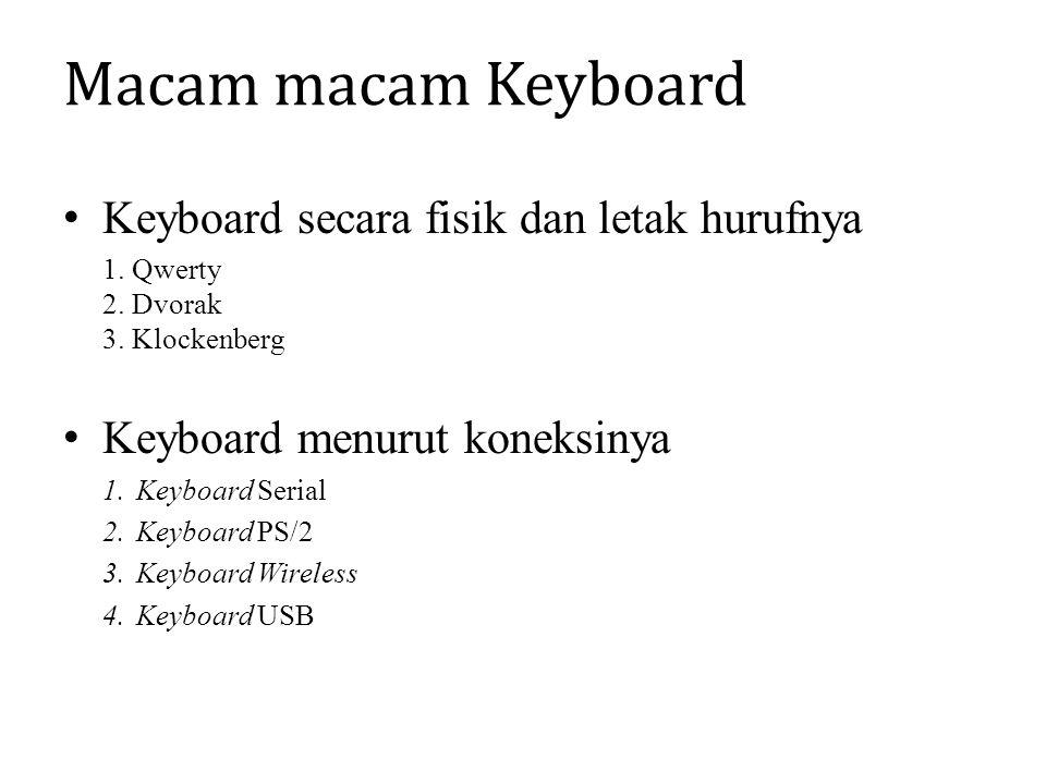 Macam macam Keyboard Keyboard secara fisik dan letak hurufnya