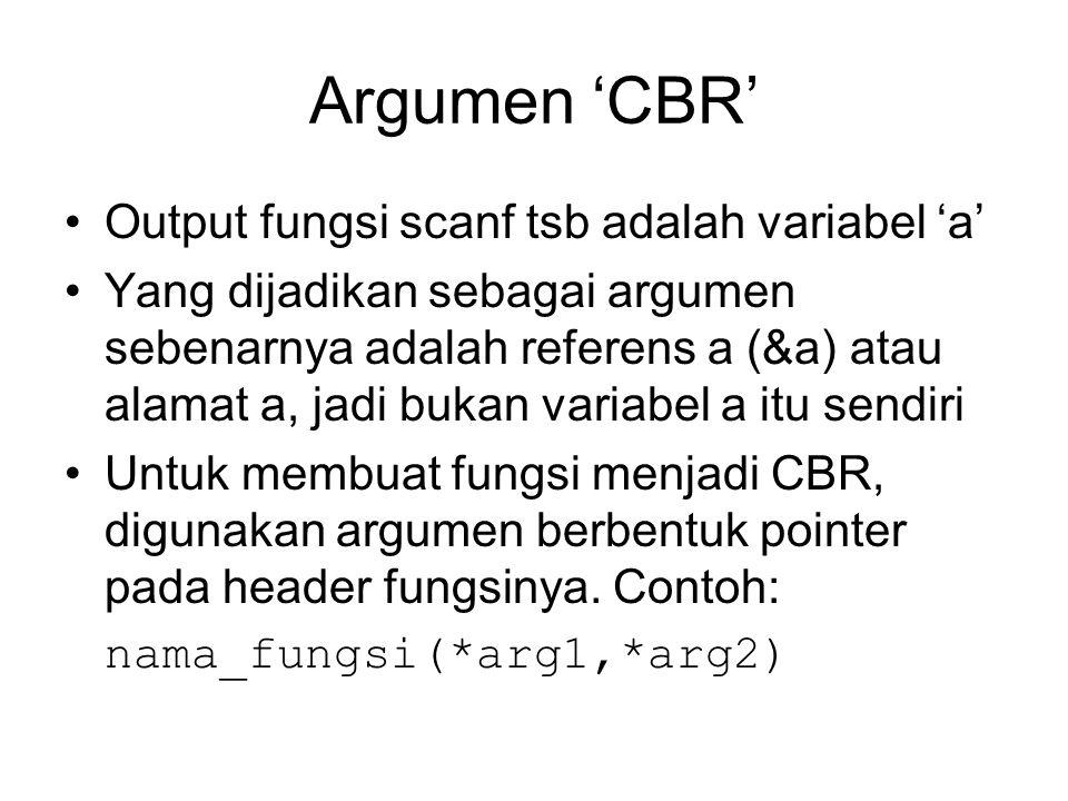 Argumen 'CBR' Output fungsi scanf tsb adalah variabel 'a'