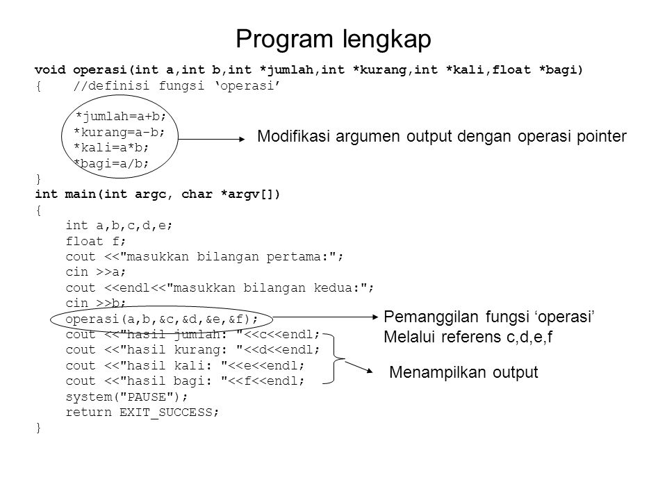 Program lengkap Modifikasi argumen output dengan operasi pointer