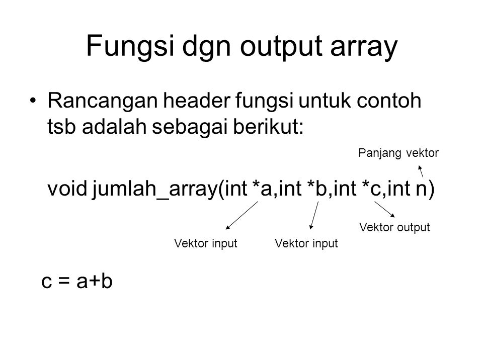 Fungsi dgn output array
