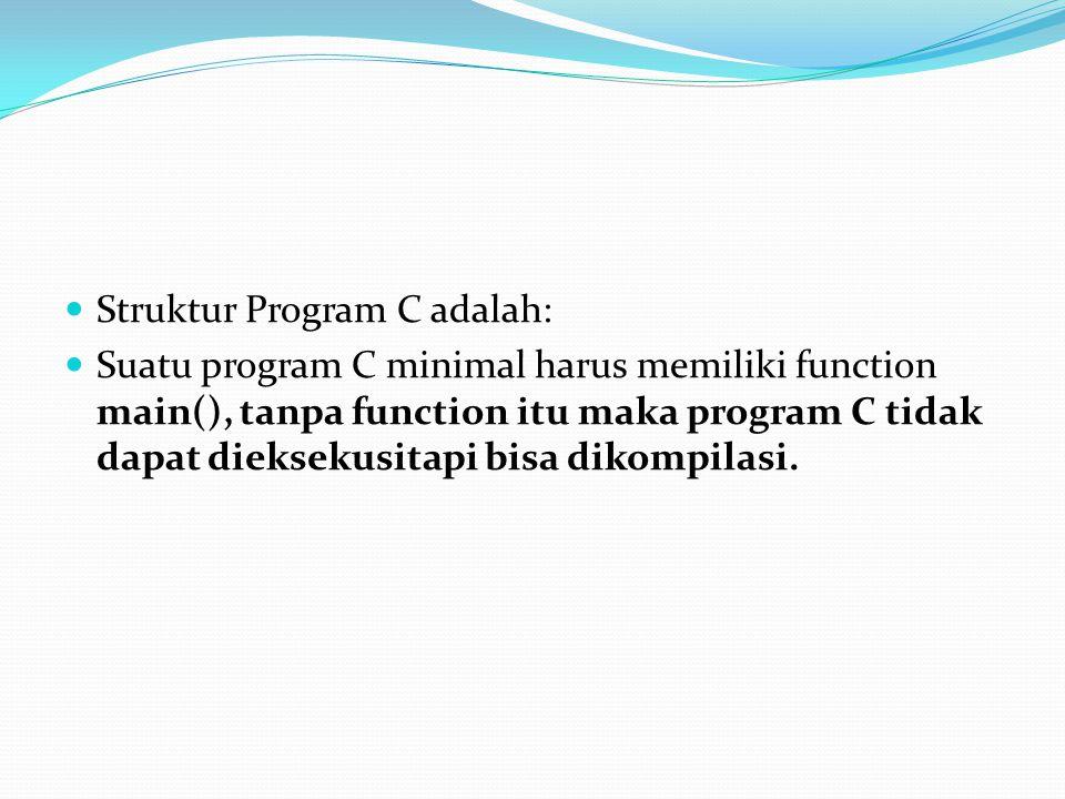 Struktur Program C adalah: