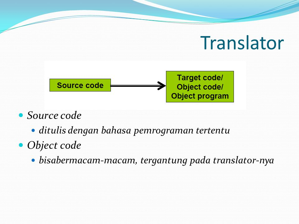 Translator Source code Object code
