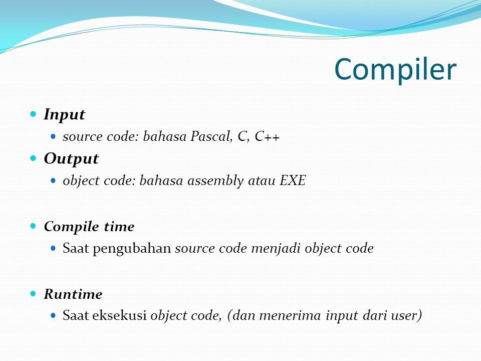 Compiler Input Output source code: bahasa Pascal, C, C++
