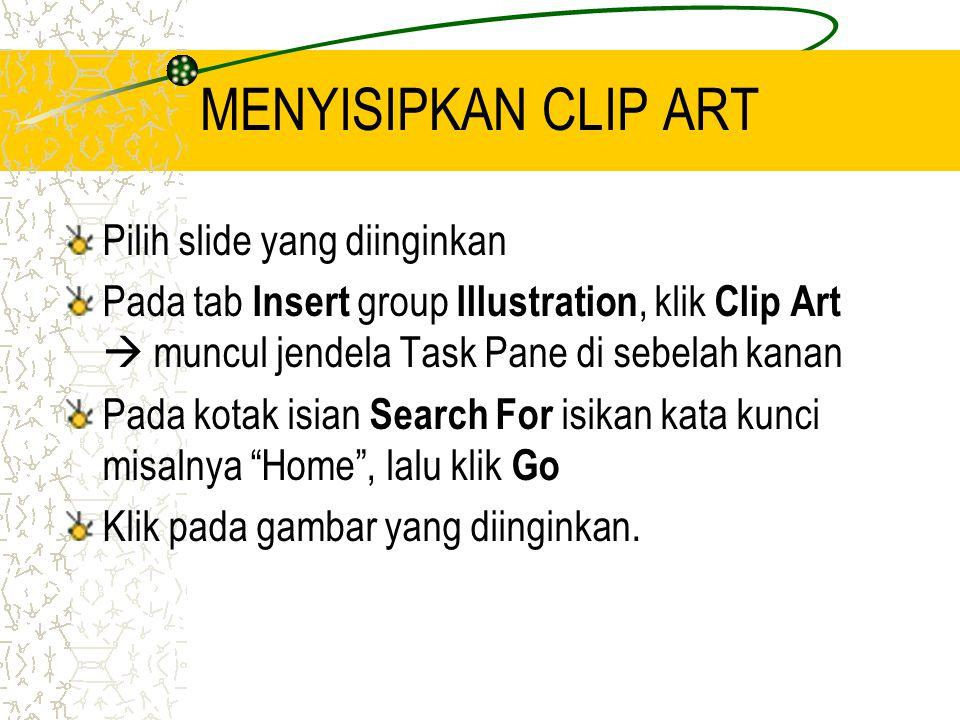 MENYISIPKAN CLIP ART Pilih slide yang diinginkan