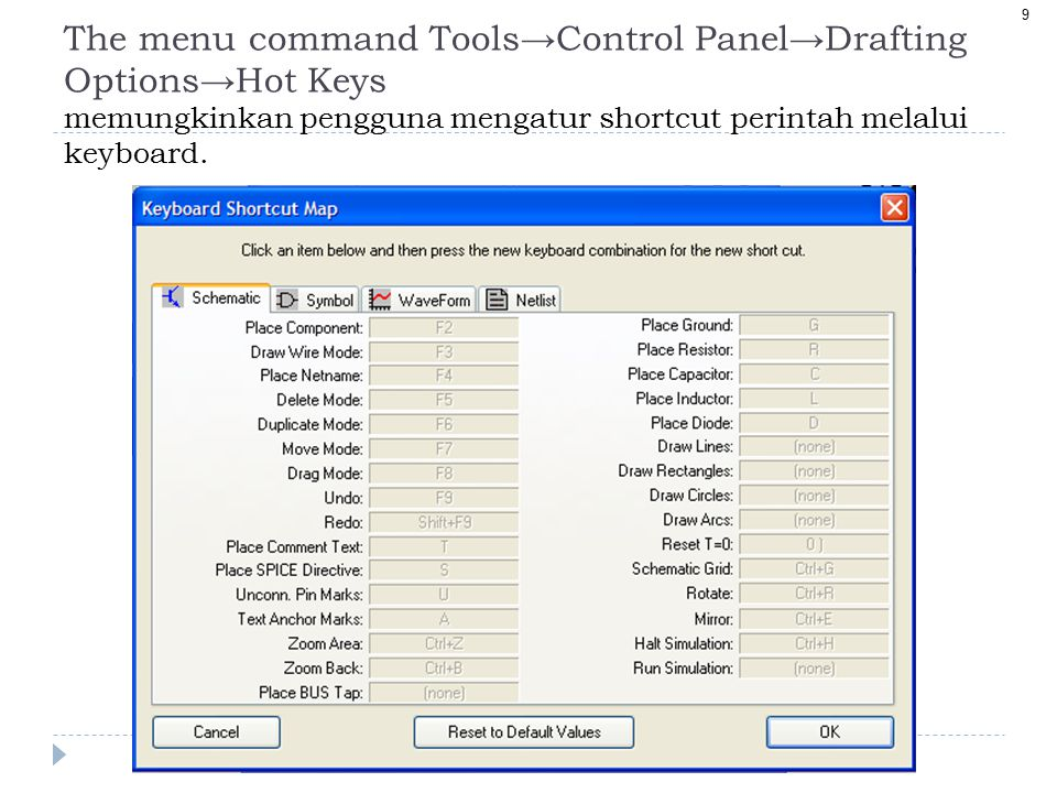 The menu command Tools→Control Panel→Drafting Options→Hot Keys memungkinkan pengguna mengatur shortcut perintah melalui keyboard.