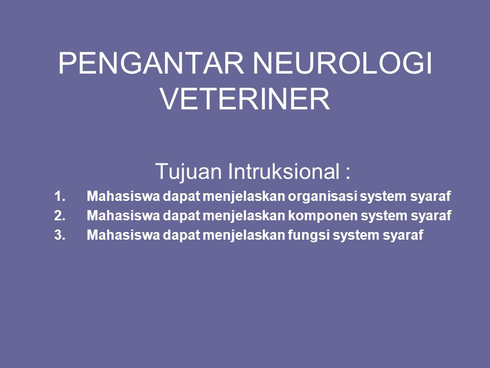 PENGANTAR NEUROLOGI VETERINER
