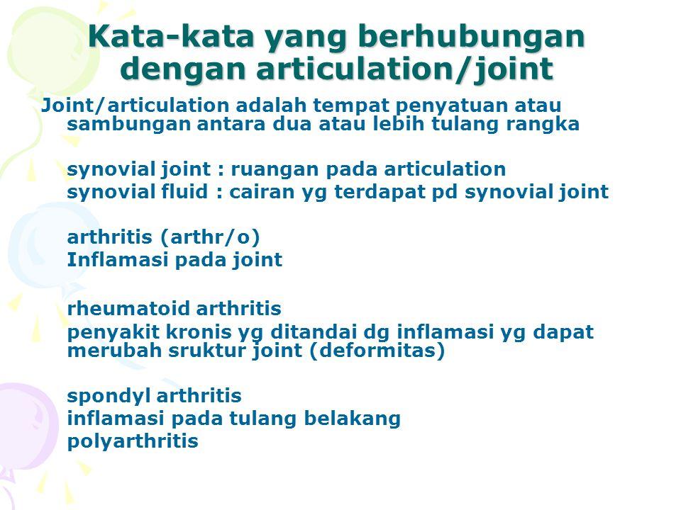 Kata-kata yang berhubungan dengan articulation/joint