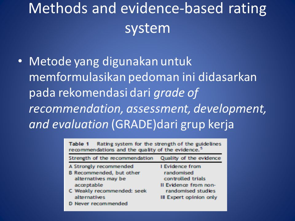 Methods and evidence-based rating system