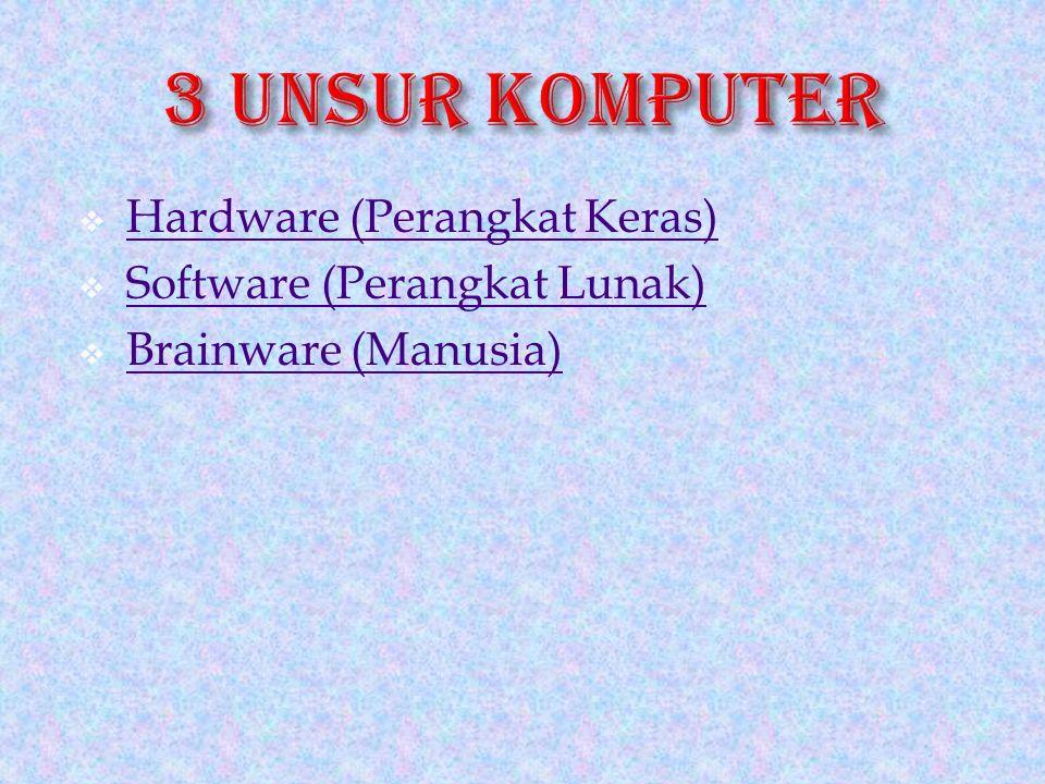 3 UNSUR KOMPUTER Hardware (Perangkat Keras) Software (Perangkat Lunak)