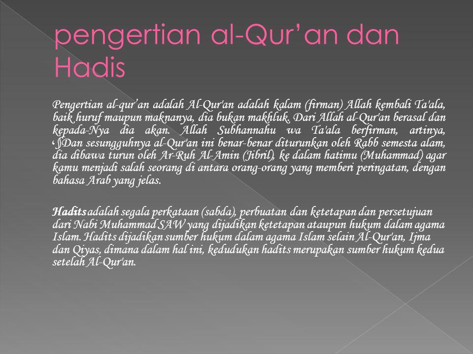 pengertian al-Qur'an dan Hadis