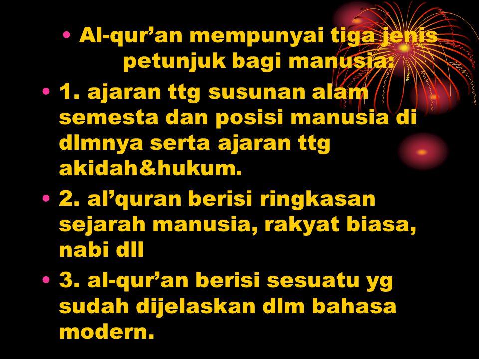 Al-qur'an mempunyai tiga jenis petunjuk bagi manusia: