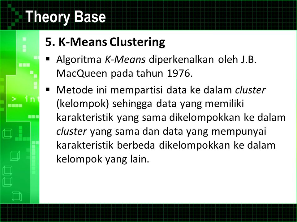 Theory Base 5. K-Means Clustering