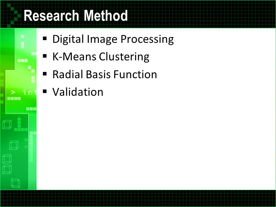 Research Method Digital Image Processing K-Means Clustering