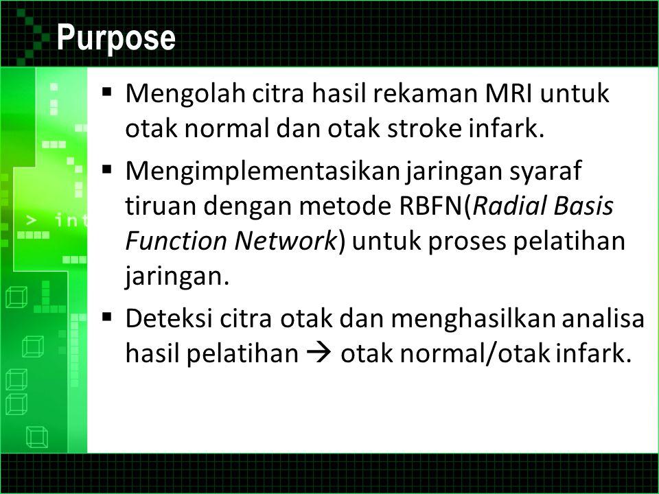 Purpose Mengolah citra hasil rekaman MRI untuk otak normal dan otak stroke infark.