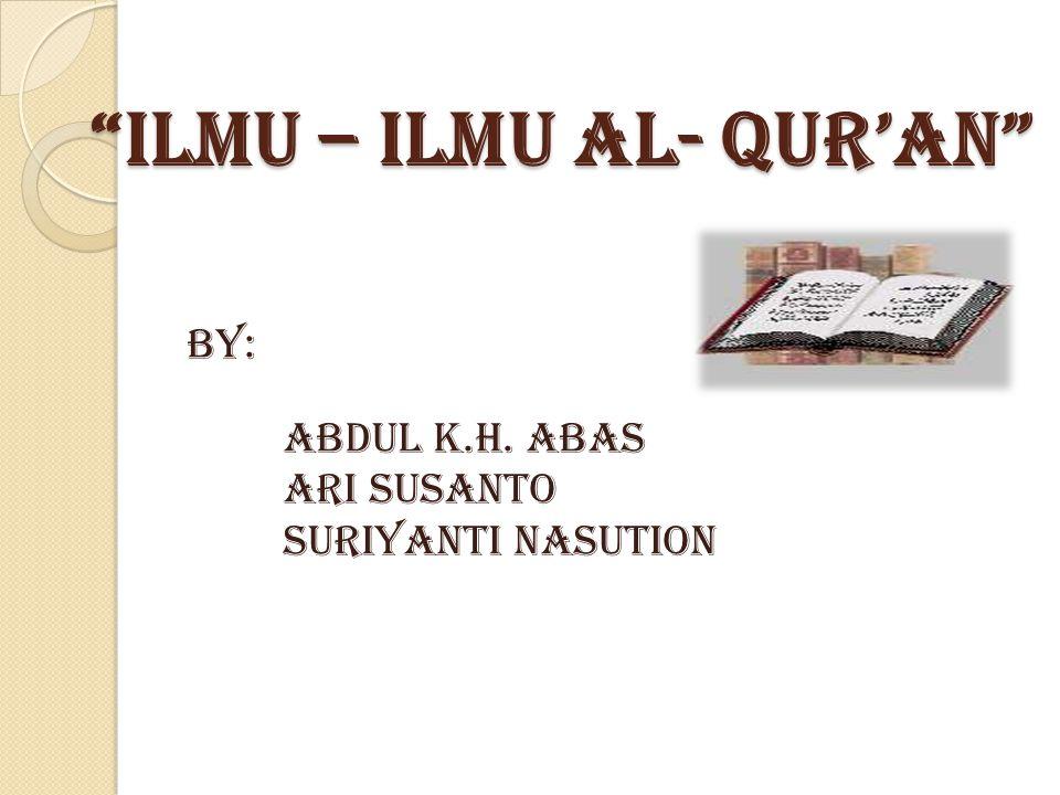 ilmu – ilmu AL- QUR'AN