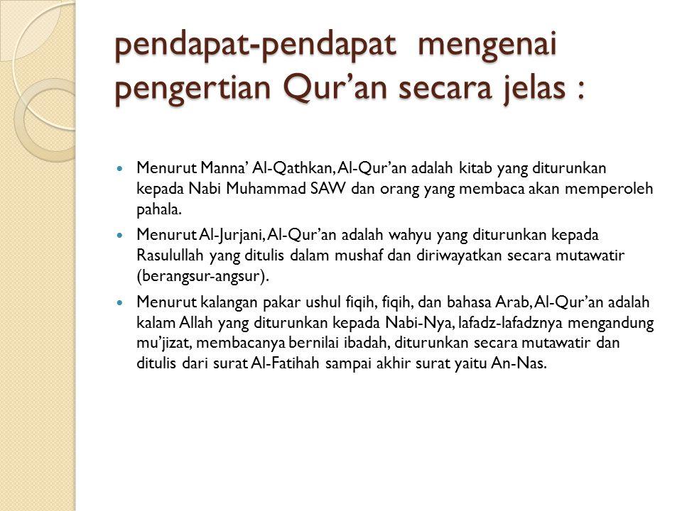 pendapat-pendapat mengenai pengertian Qur'an secara jelas :