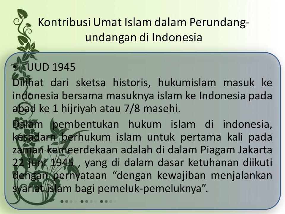 Kontribusi Umat Islam dalam Perundang-undangan di Indonesia