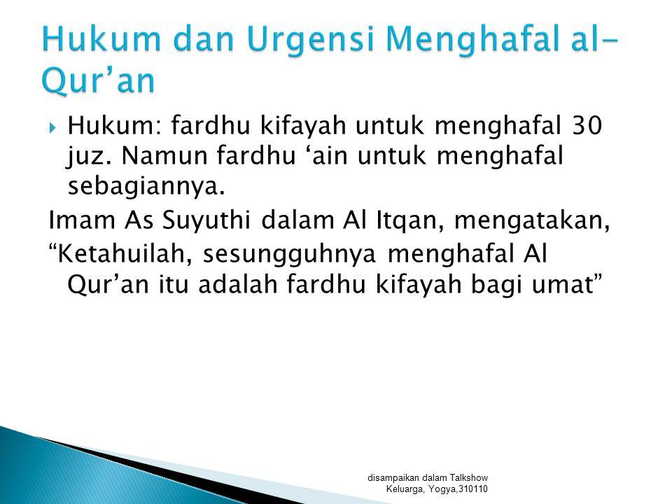 Hukum dan Urgensi Menghafal al-Qur'an