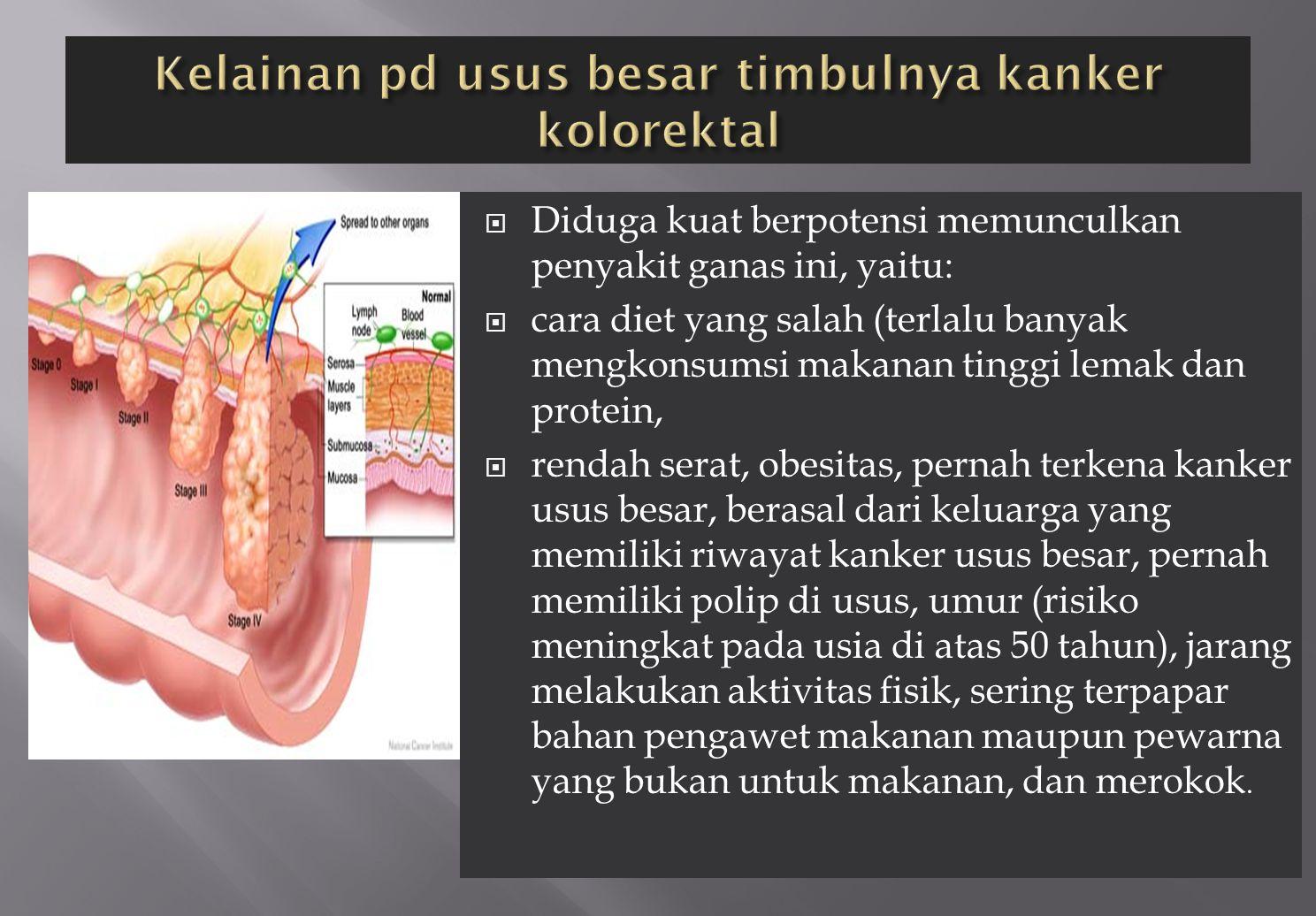 Kelainan pd usus besar timbulnya kanker kolorektal