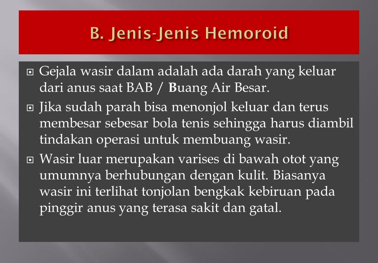 B. Jenis-Jenis Hemoroid