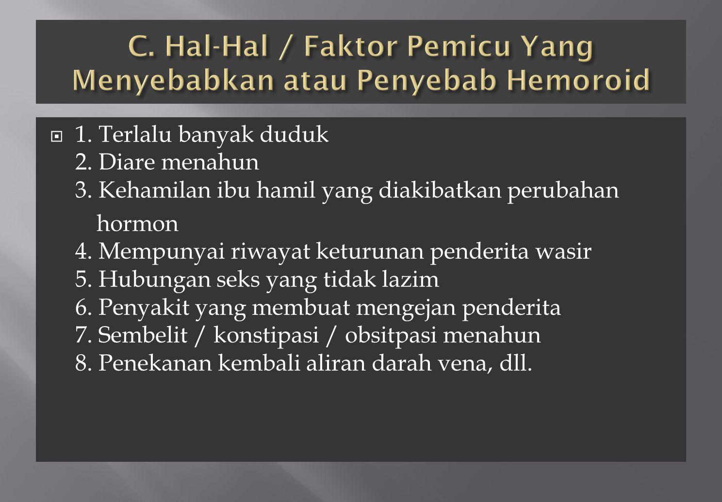 C. Hal-Hal / Faktor Pemicu Yang Menyebabkan atau Penyebab Hemoroid