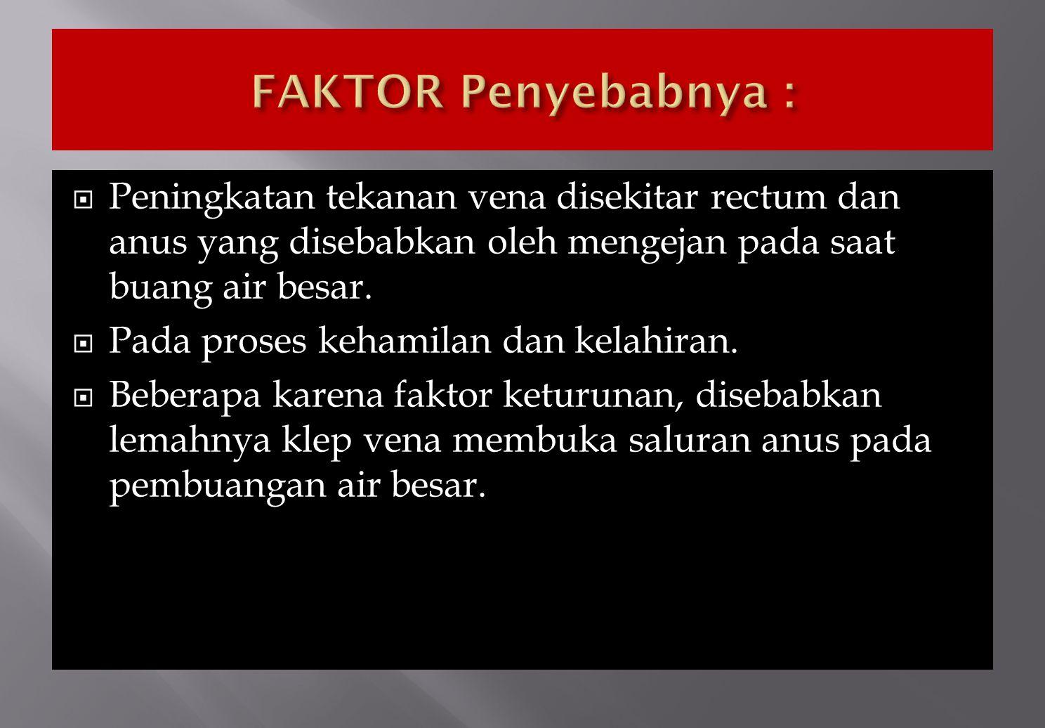 FAKTOR Penyebabnya : Peningkatan tekanan vena disekitar rectum dan anus yang disebabkan oleh mengejan pada saat buang air besar.