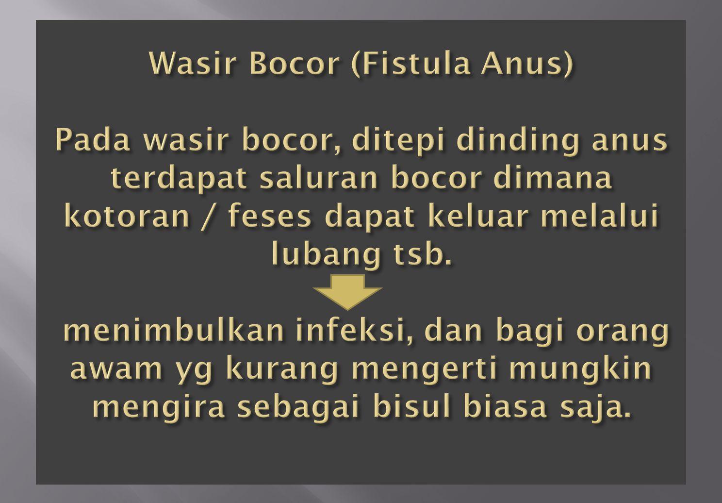 Wasir Bocor (Fistula Anus) Pada wasir bocor, ditepi dinding anus terdapat saluran bocor dimana kotoran / feses dapat keluar melalui lubang tsb.