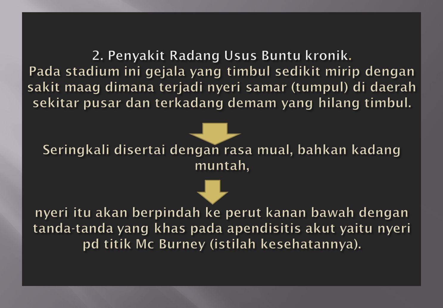 2. Penyakit Radang Usus Buntu kronik
