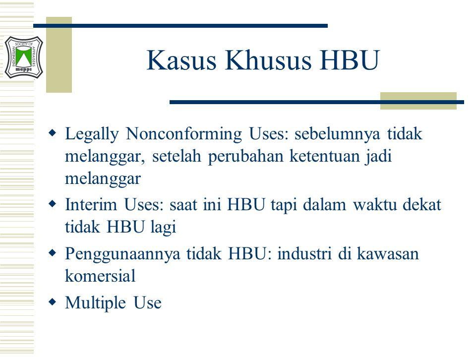 Kasus Khusus HBU Legally Nonconforming Uses: sebelumnya tidak melanggar, setelah perubahan ketentuan jadi melanggar.