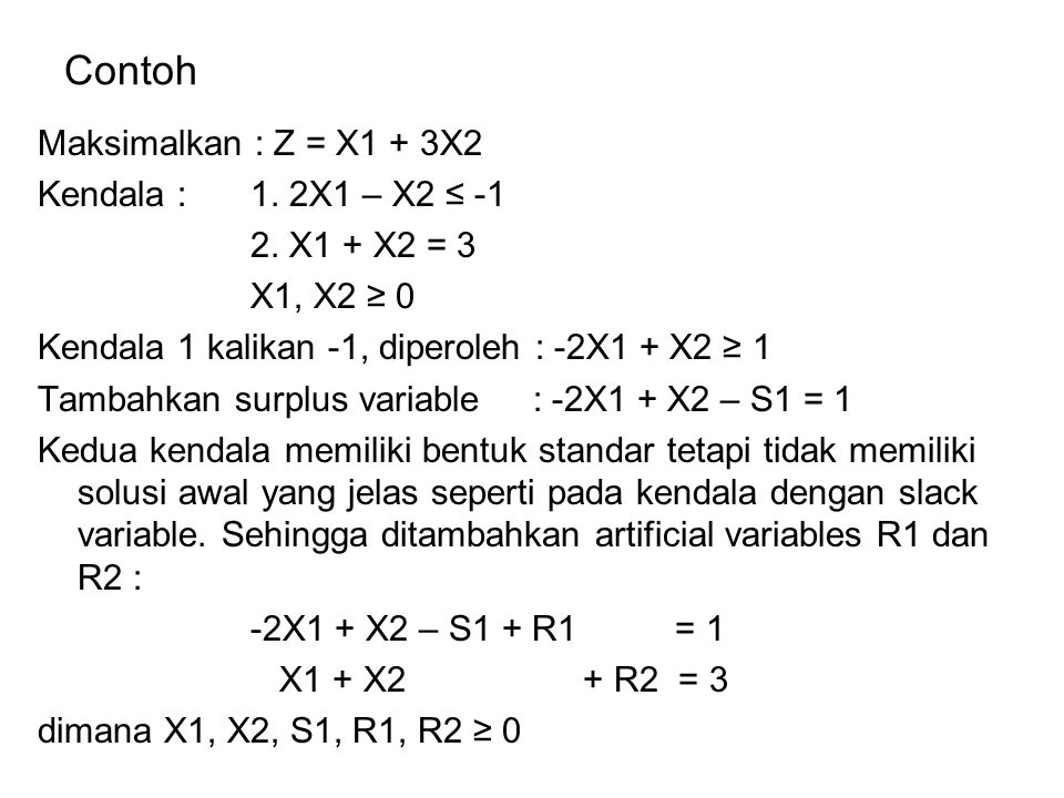 Contoh Maksimalkan : Z = X1 + 3X2 Kendala : 1. 2X1 – X2 ≤ -1