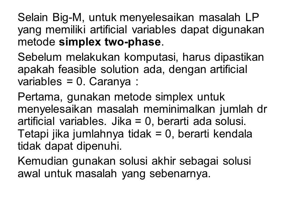 Selain Big-M, untuk menyelesaikan masalah LP yang memiliki artificial variables dapat digunakan metode simplex two-phase.