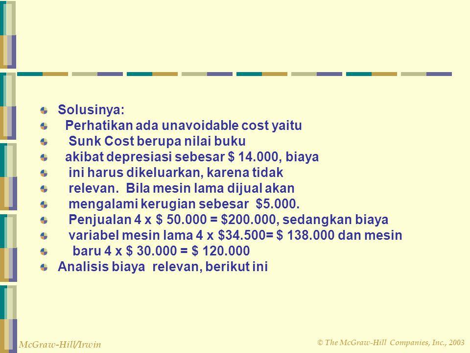 Solusinya: Perhatikan ada unavoidable cost yaitu. Sunk Cost berupa nilai buku. akibat depresiasi sebesar $ 14.000, biaya.