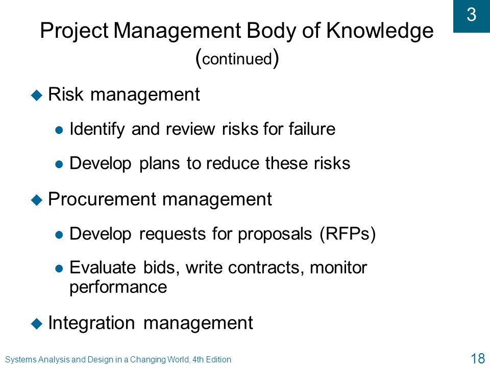Project Management Body of Knowledge (continued)