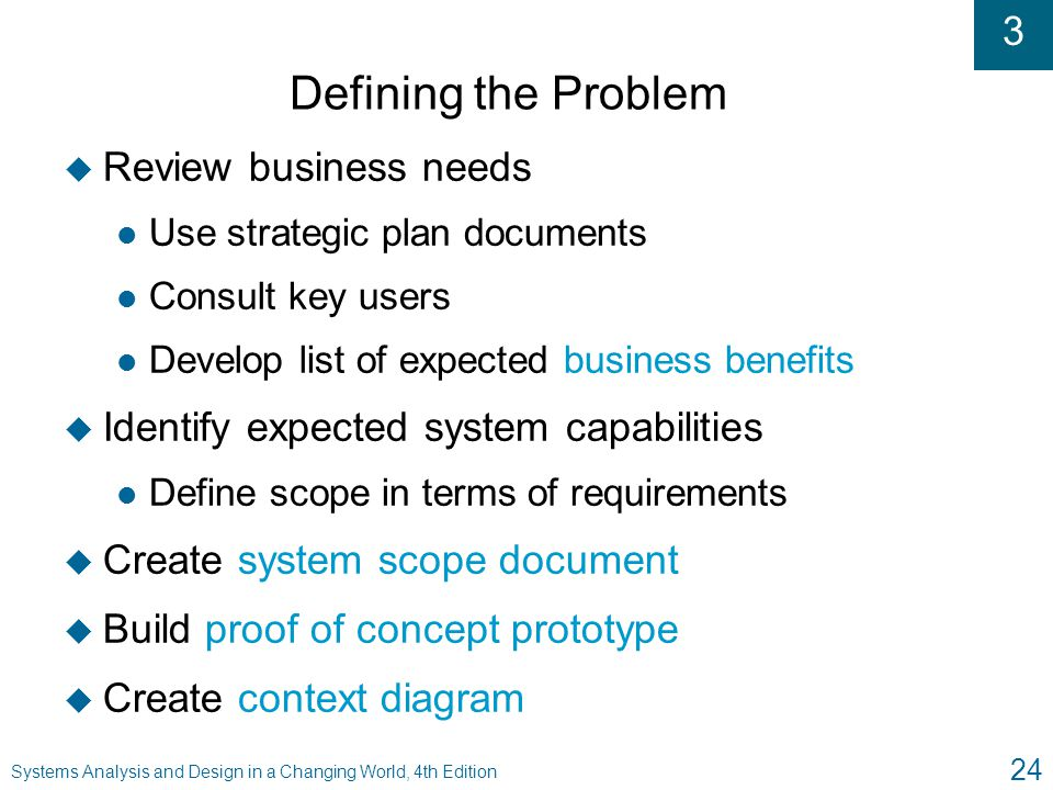Defining the Problem Review business needs