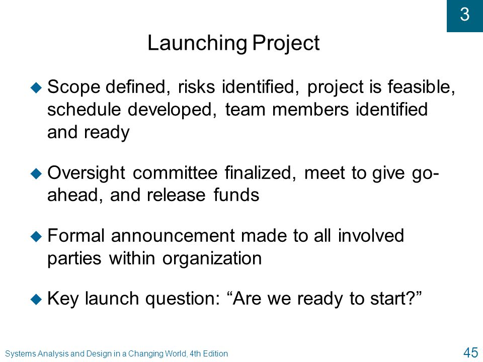 Launching Project Scope defined, risks identified, project is feasible, schedule developed, team members identified and ready.