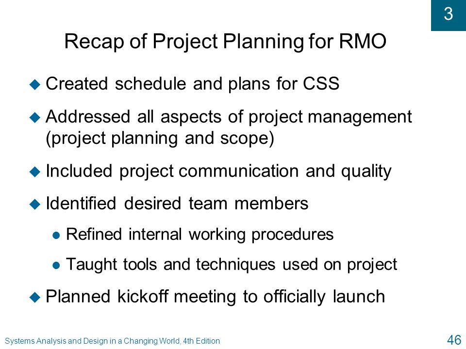 Recap of Project Planning for RMO