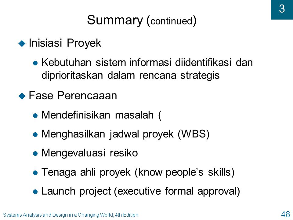 Summary (continued) Inisiasi Proyek Fase Perencaaan