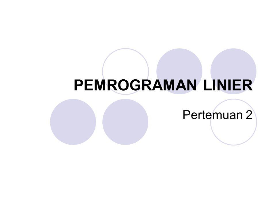 PEMROGRAMAN LINIER Pertemuan 2