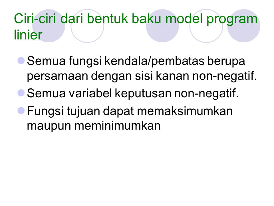 Ciri-ciri dari bentuk baku model program linier