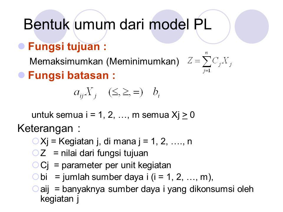 Bentuk umum dari model PL