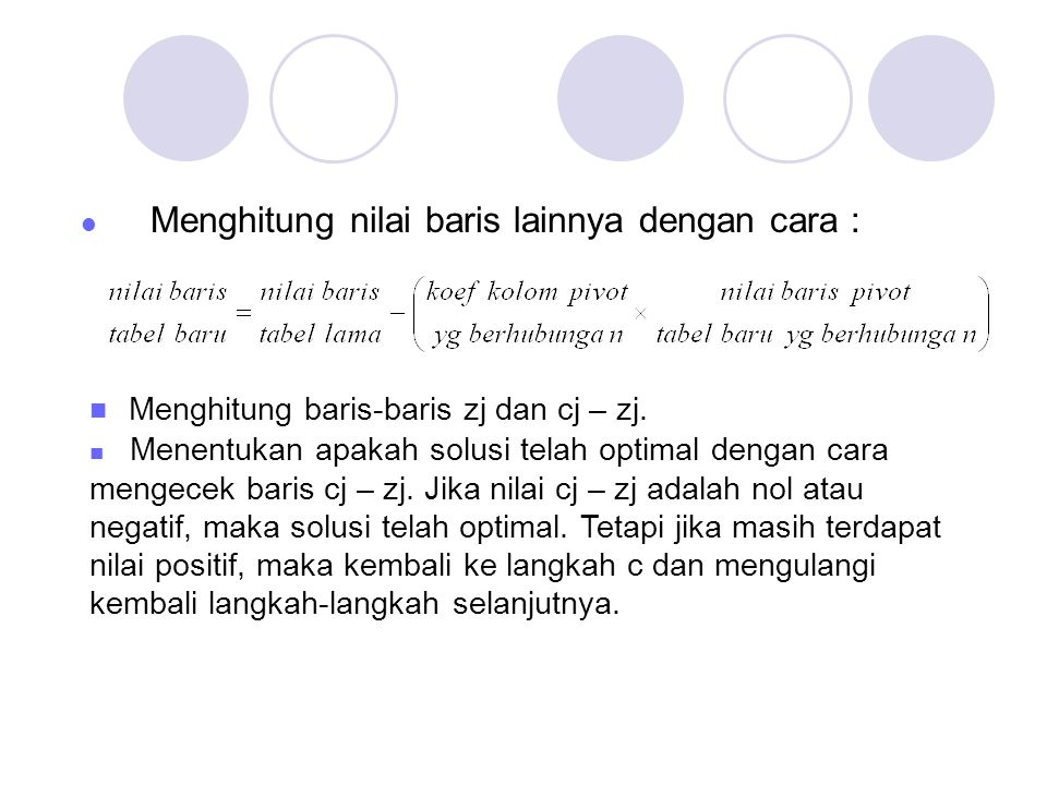 Menghitung baris-baris zj dan cj – zj.