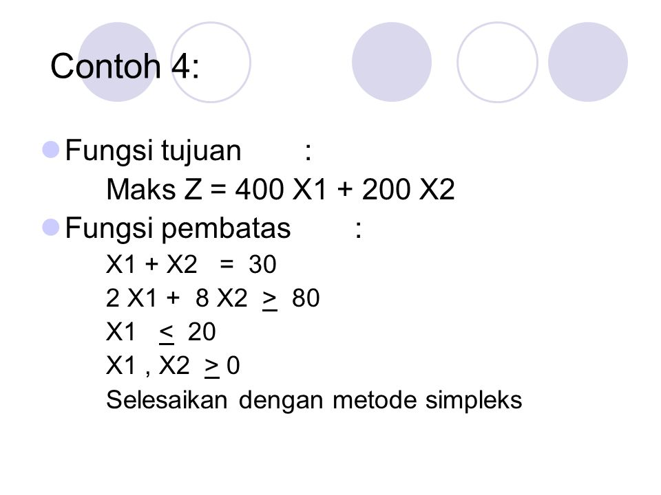 Contoh 4: Fungsi tujuan : Maks Z = 400 X1 + 200 X2 Fungsi pembatas :